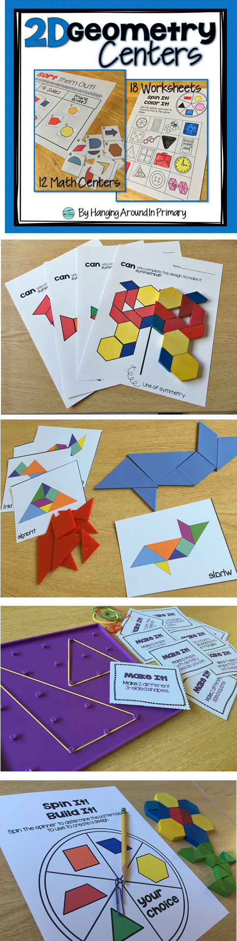 Use manipulatives you already have in your classroom to create a hands-on experience to teach 2D geometry.