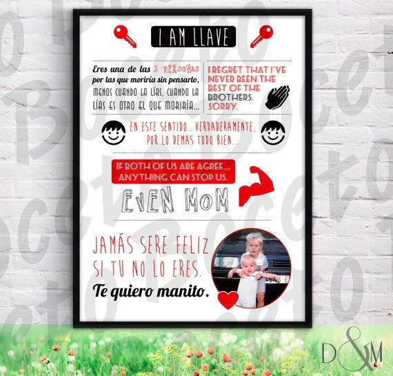 Lámina decorativa regalo hermanos personalizada boda (+marco ...