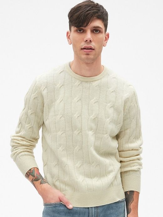Gap Mens Cable-Knit Crewneck Pullover Sweater In Pure Wool Cream 9c7597cd6