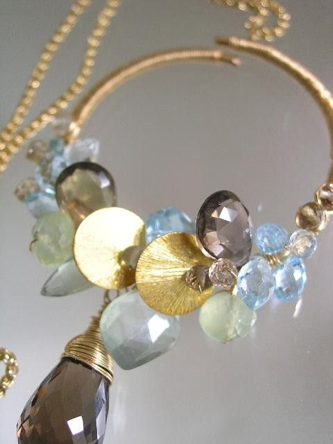 Over the MoonPrehnite Smoky Quartz Blue Topaz by bellajewelsII, $298.00