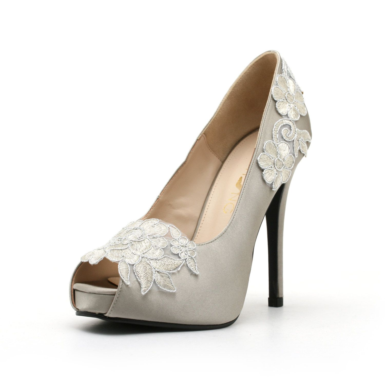 Silver Embroidery Wedding Heels. Silver Wedding Shoes. Silver Lace Wedding  Shoes.  98.00 6b9d7ac6229a