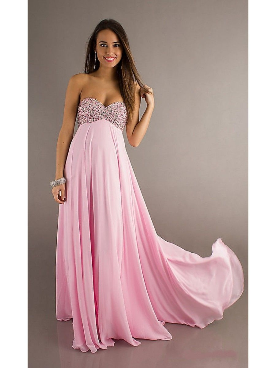 Sweetheart Beaded Long Pink Chiffon Prom Evening Formal Maternity ...