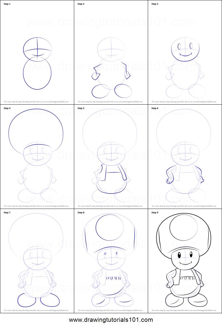 How To Draw Toad From Super Mario Printable Step By Step Drawing
