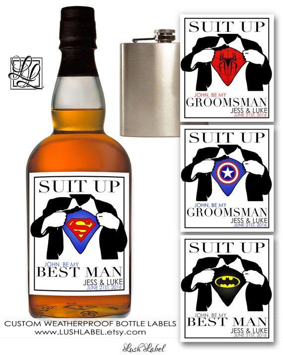 Best Man Groomsmen Superhero Wine Champagne Bottle Flask Labels Wedding Invitations Will You Be My Request Superman Batman Spider Bga3