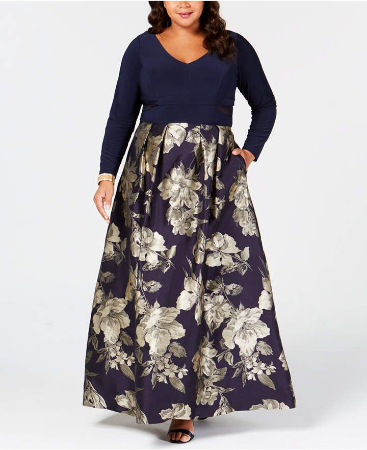 Plus Size Printed Mesh-Inset Gown in 2019 | Products ...