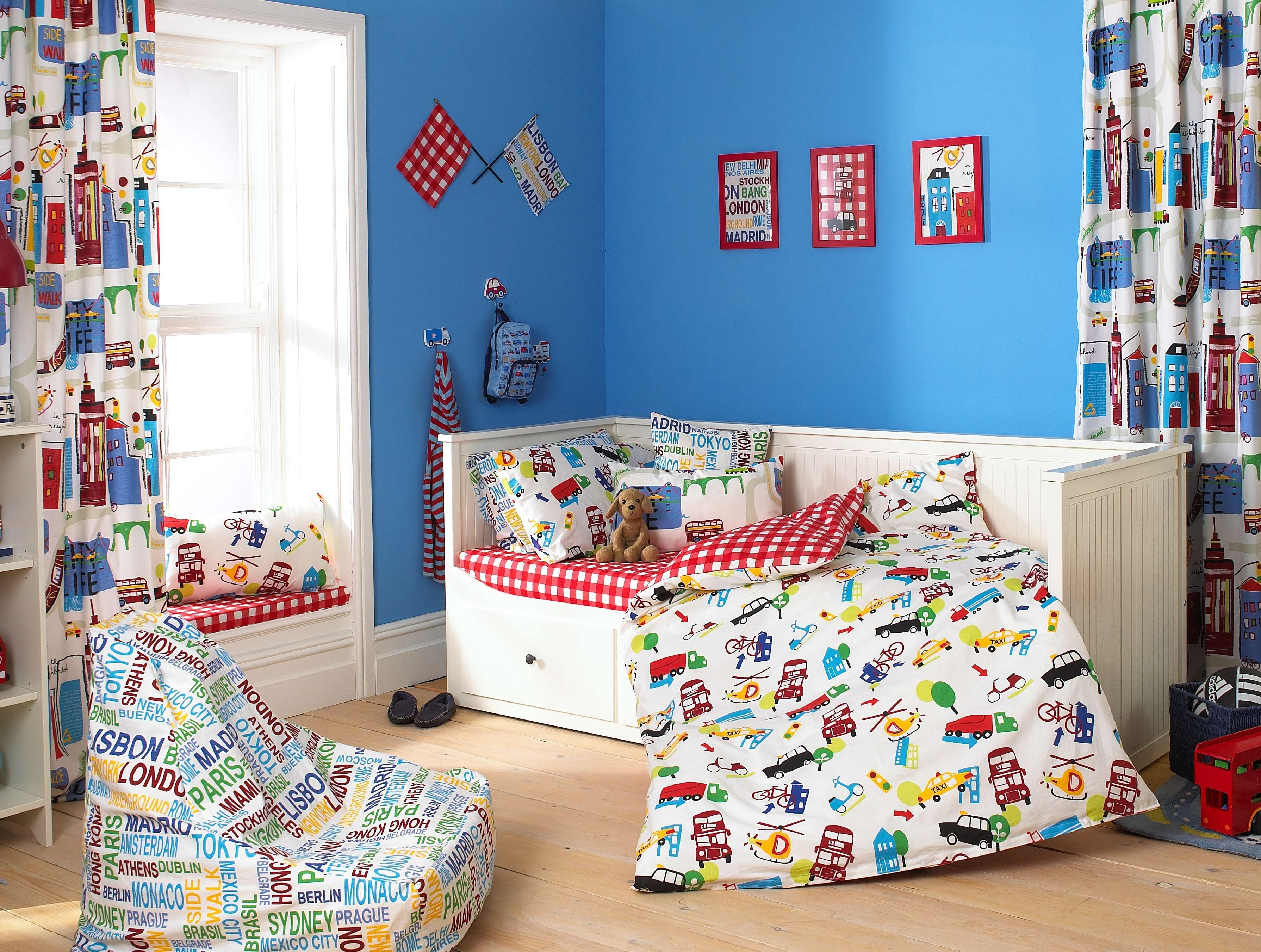 Blue and White Themed DIY Kids Room Design with