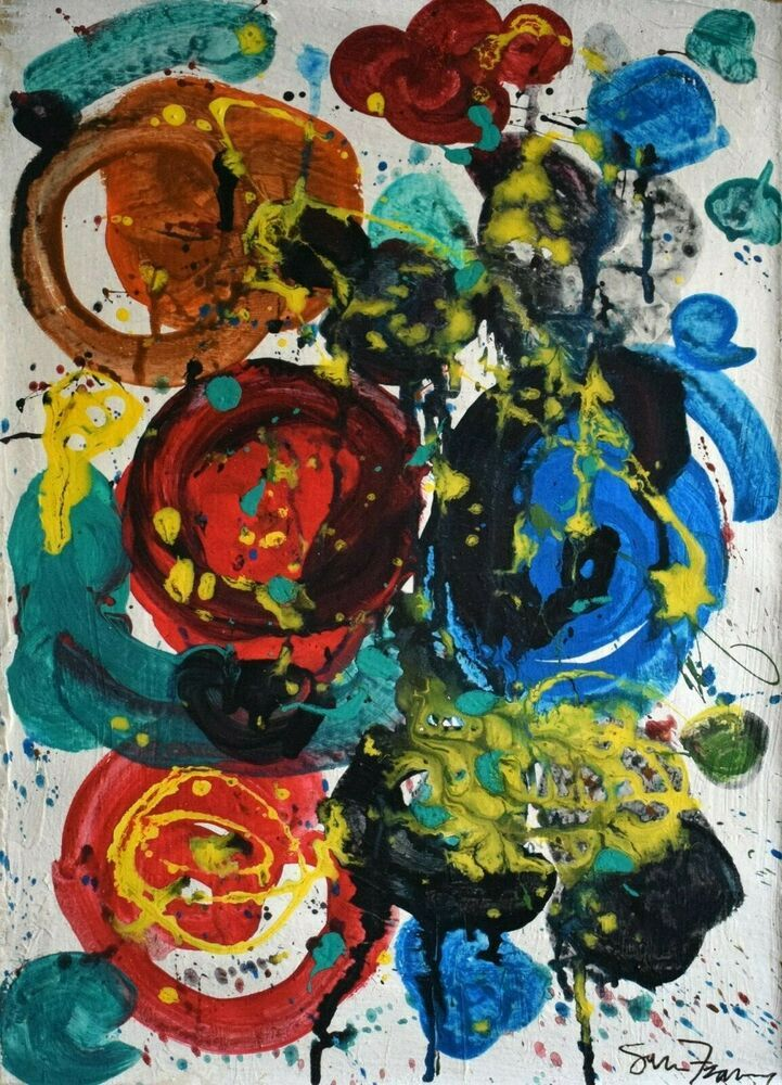 Vintage Abstract Painting Signed Sam Francis, Modern Old