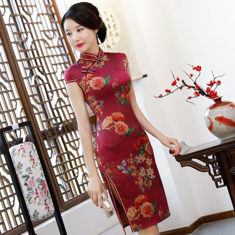 bc54d2b58 Burgundy-Female-Classic-Qipao-Satin-Slim-Tight-Cheongsam-Mandarin ...
