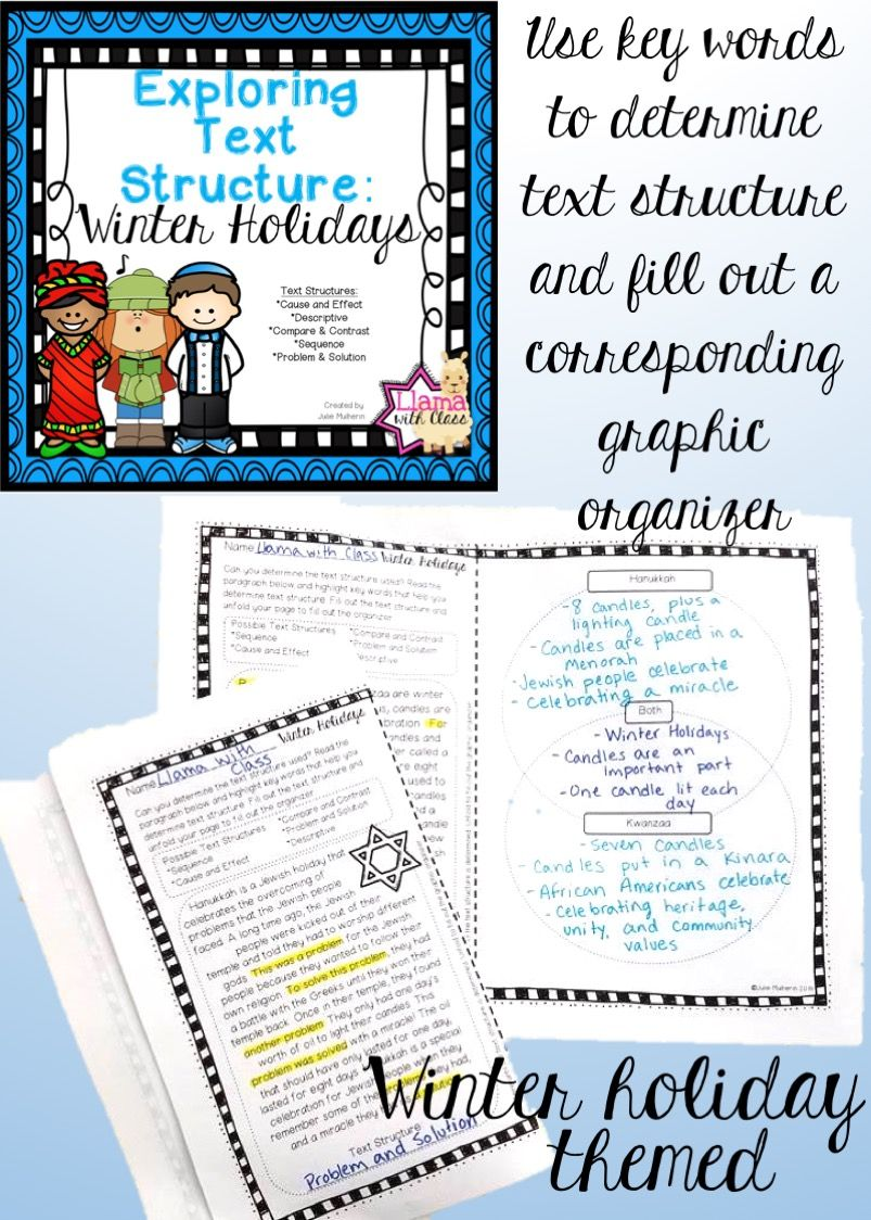 Workbooks text structure practice worksheets : Exploring Text Structure with Winter Holidays | Winter holidays ...