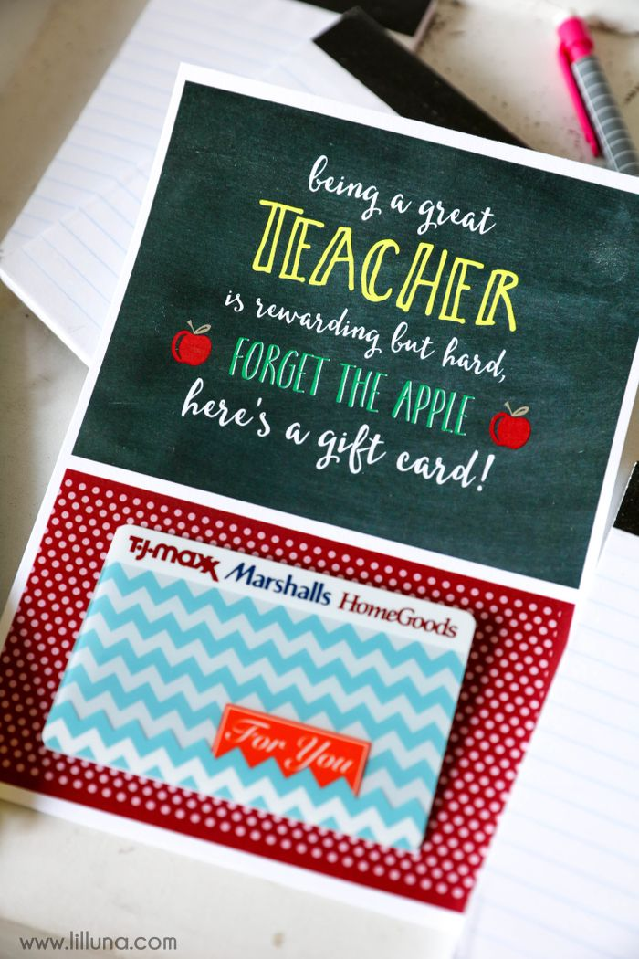 Christmas gift cards for teachers