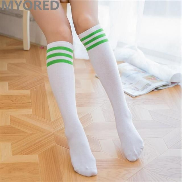MYORED candy colored stripes cotton sexy women\'s long socks style ...