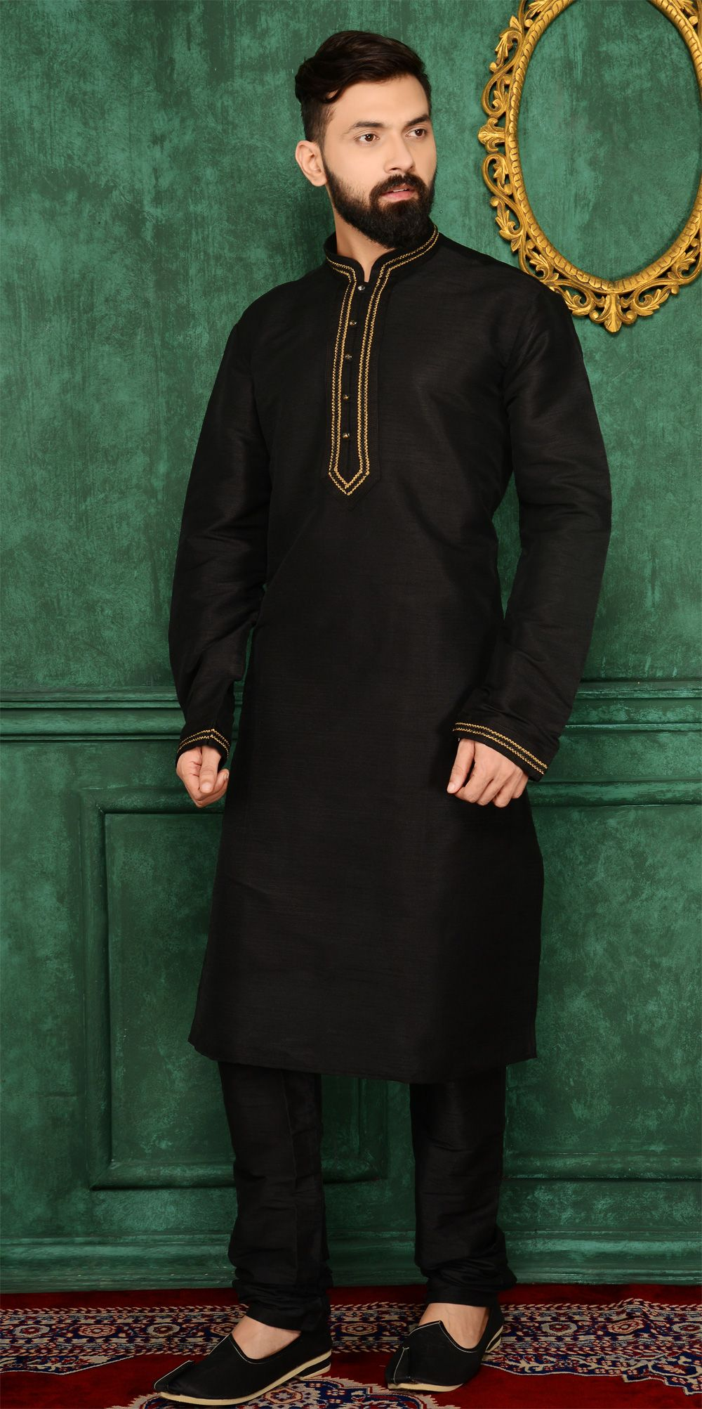 a0c27dca93 Dress up with the #Classic Black Art Banarasi Silk Kurta for Men at  #NihalFashions, with 10% Discount & Free shipping all over the India.