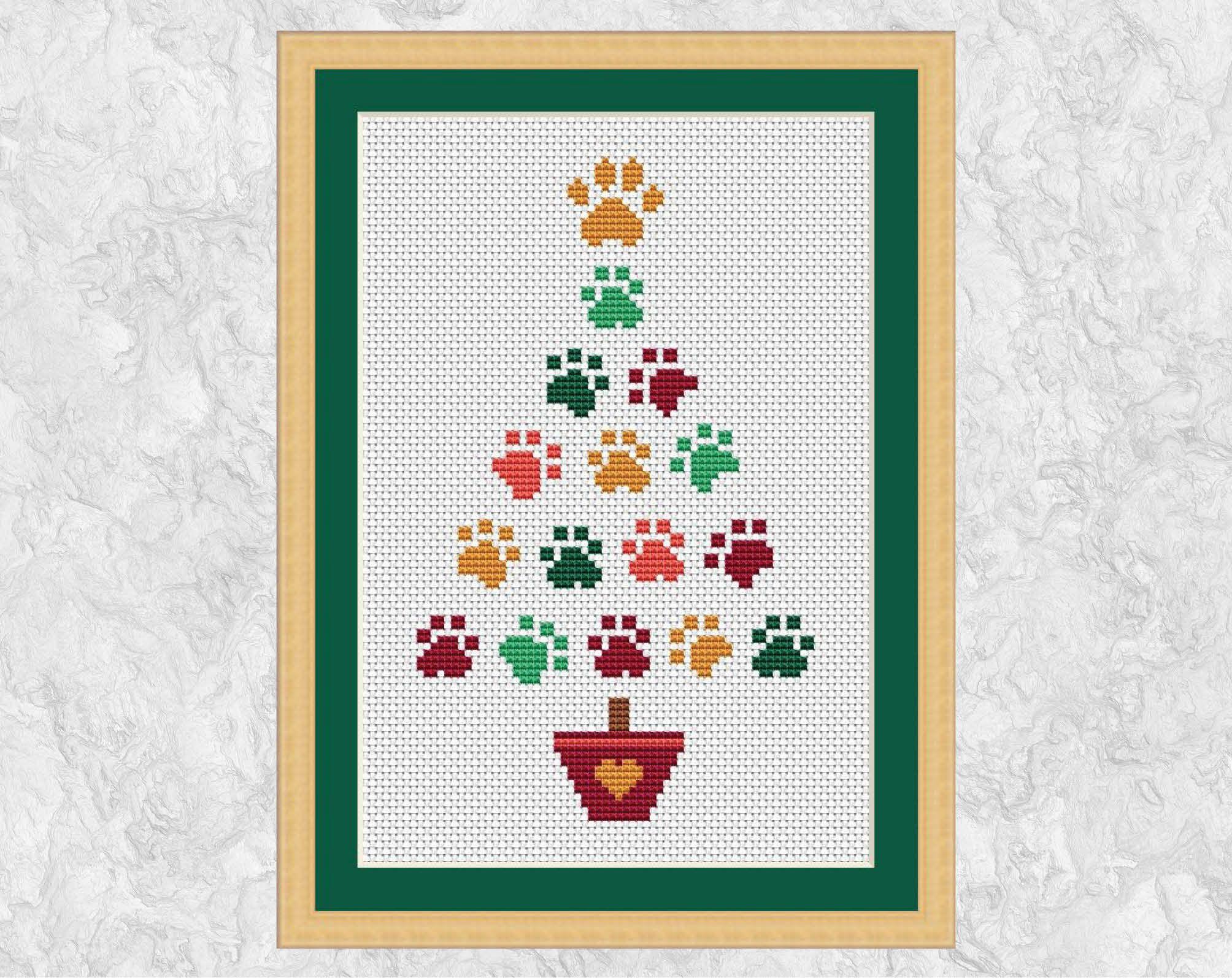 Paw Print Christmas Tree Cross Stitch Pattern Fun Easy Chart Etsy Cross Stitch Christmas Cards Cross Stitch Tree Christmas Cross Stitch Patterns Free