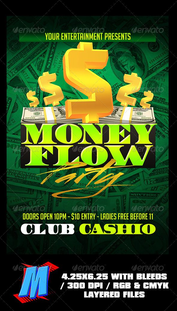 money flow party flyer template fonts logos icons pinterest