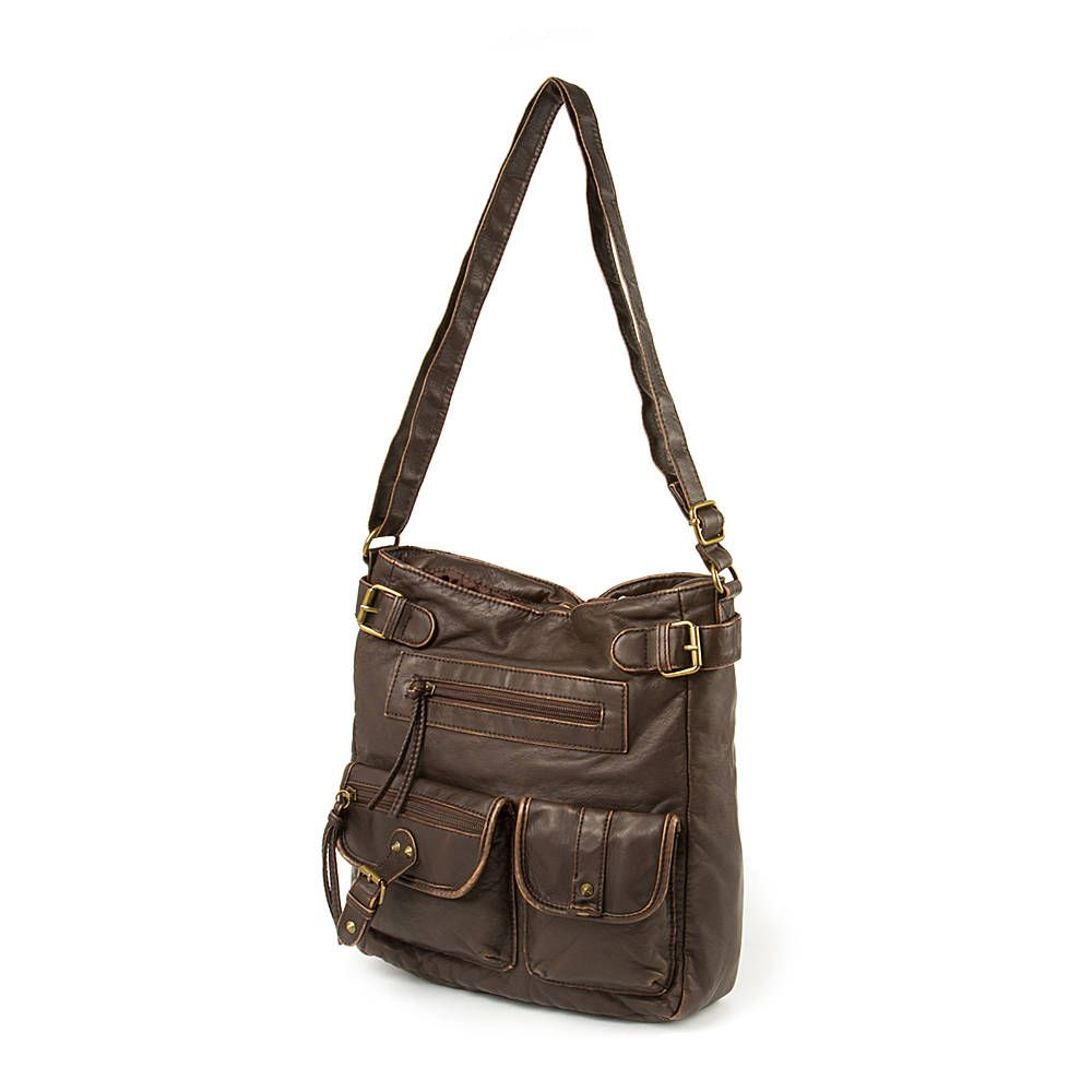 Dark Brown Faux Leather Crossbody Bag with Front Studded Pockets ...
