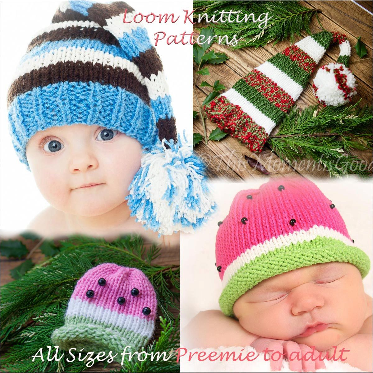 Loom Knit Elf & Watermelon Hat PATTERNS. 2 Hat PATTERNS in All sizes ...
