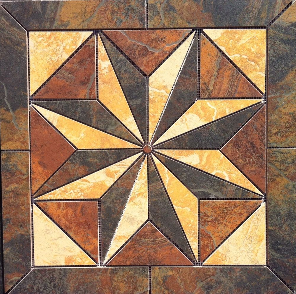 22 14 tile medallion mosaic marazzi imperial slate tile tile 22 14 x 22 14 ceramic tile medallion medallion is made from the following marazzi tiles medallion can be used in a tile back splash or in a tile floor dailygadgetfo Gallery