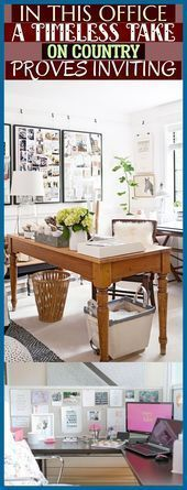 In This Office A Timeless Take On Country Proves Inviting ; #officedecor #office...,  #Country #farmhouseofficeorganization #Inviting #Office #officedecor #Proves #Timeless