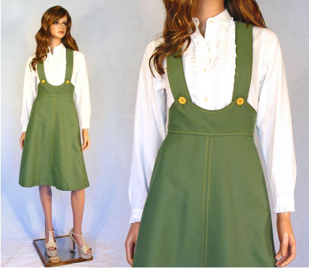 vtg 60 s 70 s flare skirt high waist suspender