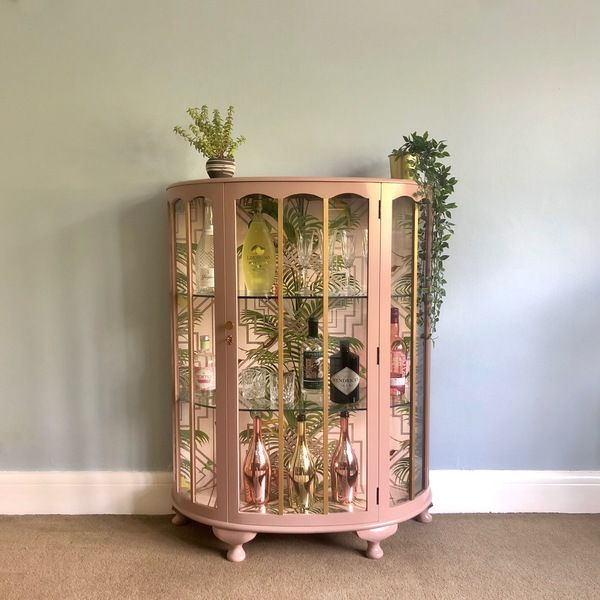 Upcycled Vintage Glass Drinks Cabinet, Hand Painted In Damask Pink & Gold, Decoupaged Art Deco Geometric Tropical Cocktail Display Cabinet | Vinterior