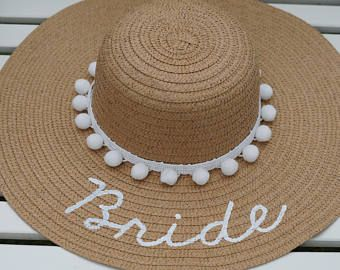 4c2febe8 Personalized custom sun floppy straw beach hat white pom poms hand-painted  Mrs. wedding honeymoon bachelorette derby party