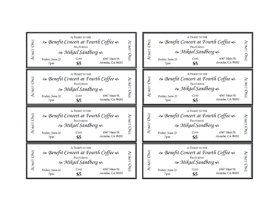 Use This Customizable Template To Create And Print Your Own Event Tickets The Template Features Eight Event Ticket Template Ticket Template Printable Tickets