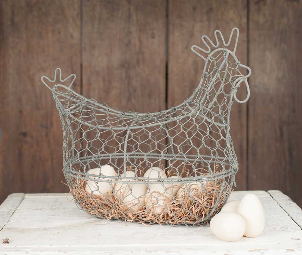 Farmhouse//Cottage//Primitive//Country Chicken Wire Egg Basket