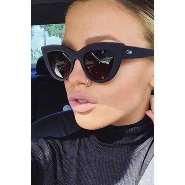 Quay australia kitti black smoke designer sunglasses ($87) ❤ liked on Polyvore featuring accessories, eyewear, sunglasses, cat-eye glasses, stainless steel glasses, cat sunglasses, uv protection glasses and lens glasses