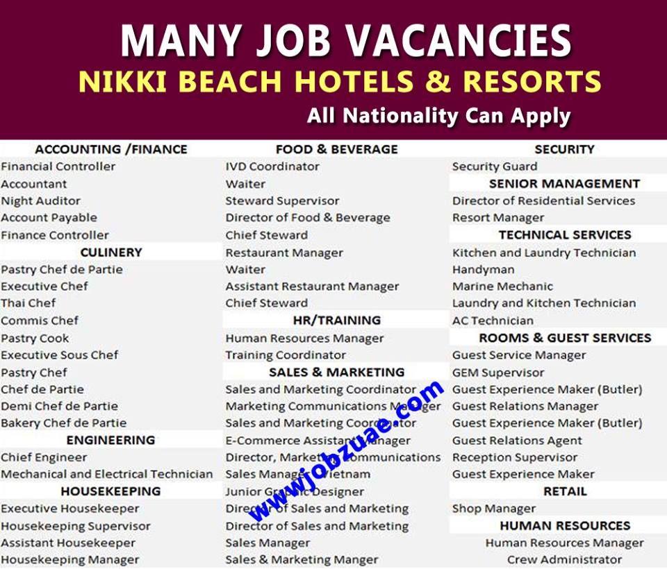 Nikki Beach Hotels Resort Jobs Attractive Salary Accommodation Flight Tickets Free Visa Click Her Beach Hotel Resort Beach Hotels Nikki Beach