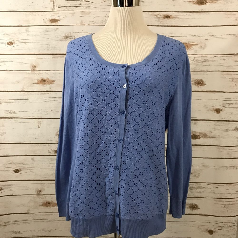 Details about Talbots L Lightweight Cardigan Lace Front Cotton ...