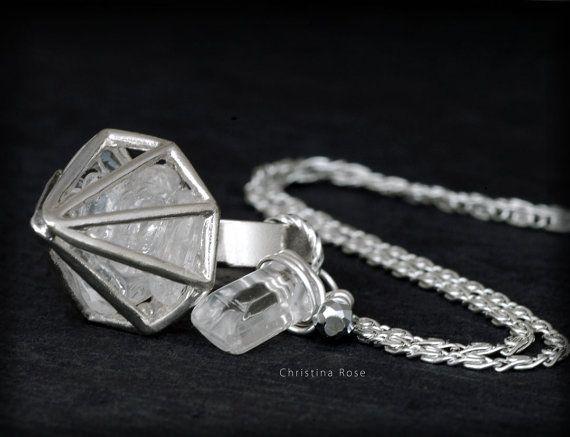 RAW WHITE QUARTZ  Floating Diamond Cage by ChristinaRoseJewelry, $48.00