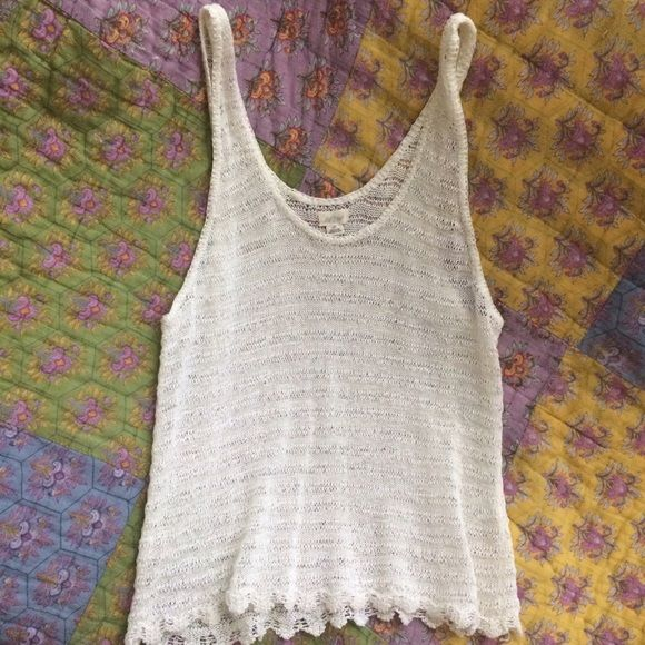 Cream Crocheted Aerie Tank Top So sad to let this go, it's absolutely gorgeous and can go with so many looks. Cream color, no flaws, in new condition aerie Tops Tank Tops