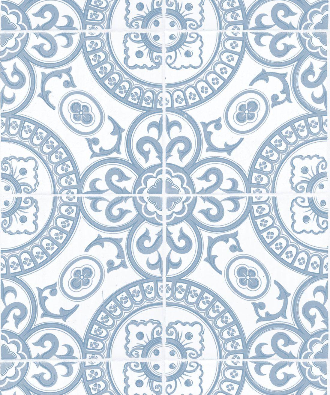 Heritage Tiles Wallpaper Authentic Cement Tile Design Milton King In 2021 Tile Wallpaper Blue And White Wallpaper Farmhouse Wallpaper