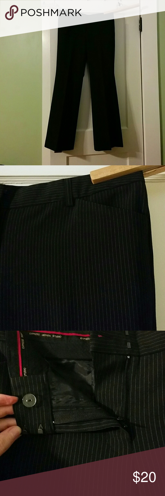 Express Black Pinstripe Pants Express Black Pinstripe Pants, Design Studio. Front zipper, hook and button closure. These are a size 10Long. Express Pants Trousers
