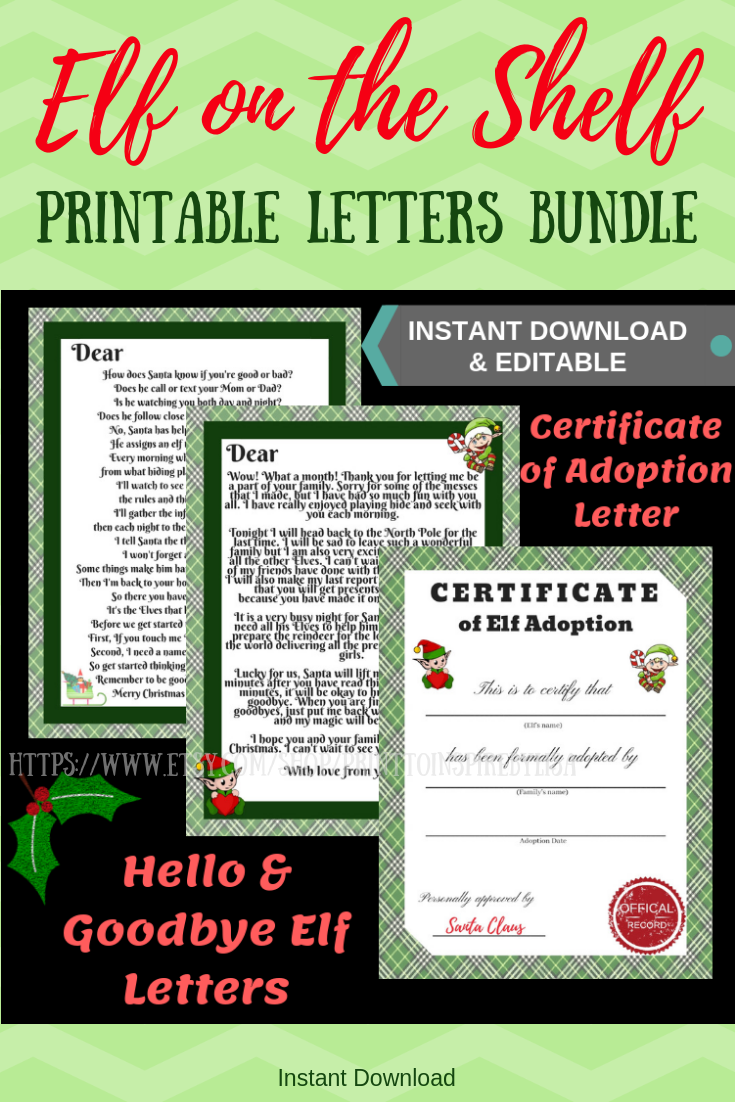 Editable NEW Elf on the Shelf Arrival Letter, Goodbye Letter, and Certificate of Adoption Bun...