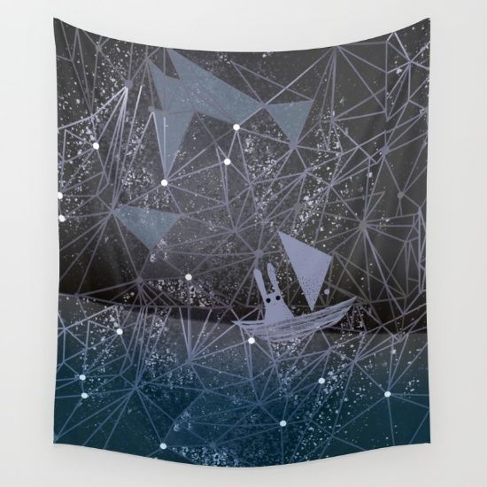 sailing through space Wall Tapestry