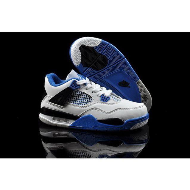 Nike Air Jordan 4 Retro Cushion Kids Shoes White Blue Black
