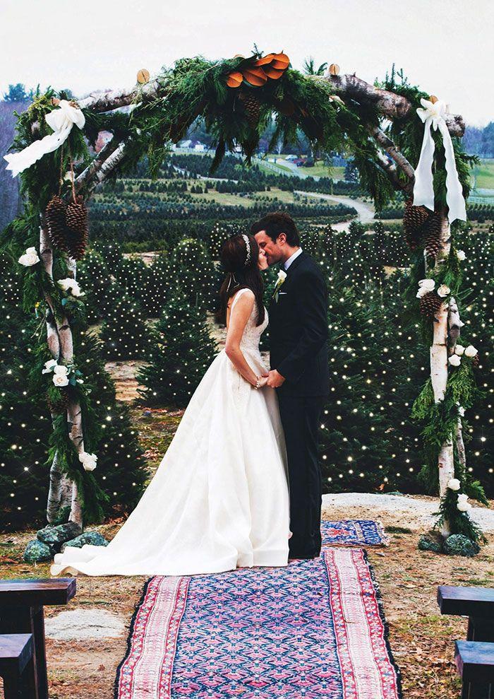 This Christmas Tree Farm Wedding Looks Like A Fairytale Come True England Wedding Tree Wedding Christmas Tree Farm