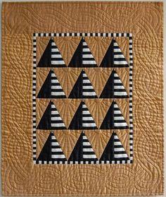 Black and White Pyramids on Amber Silk Miniature Quilt by Patti Pinkus - sunburn.