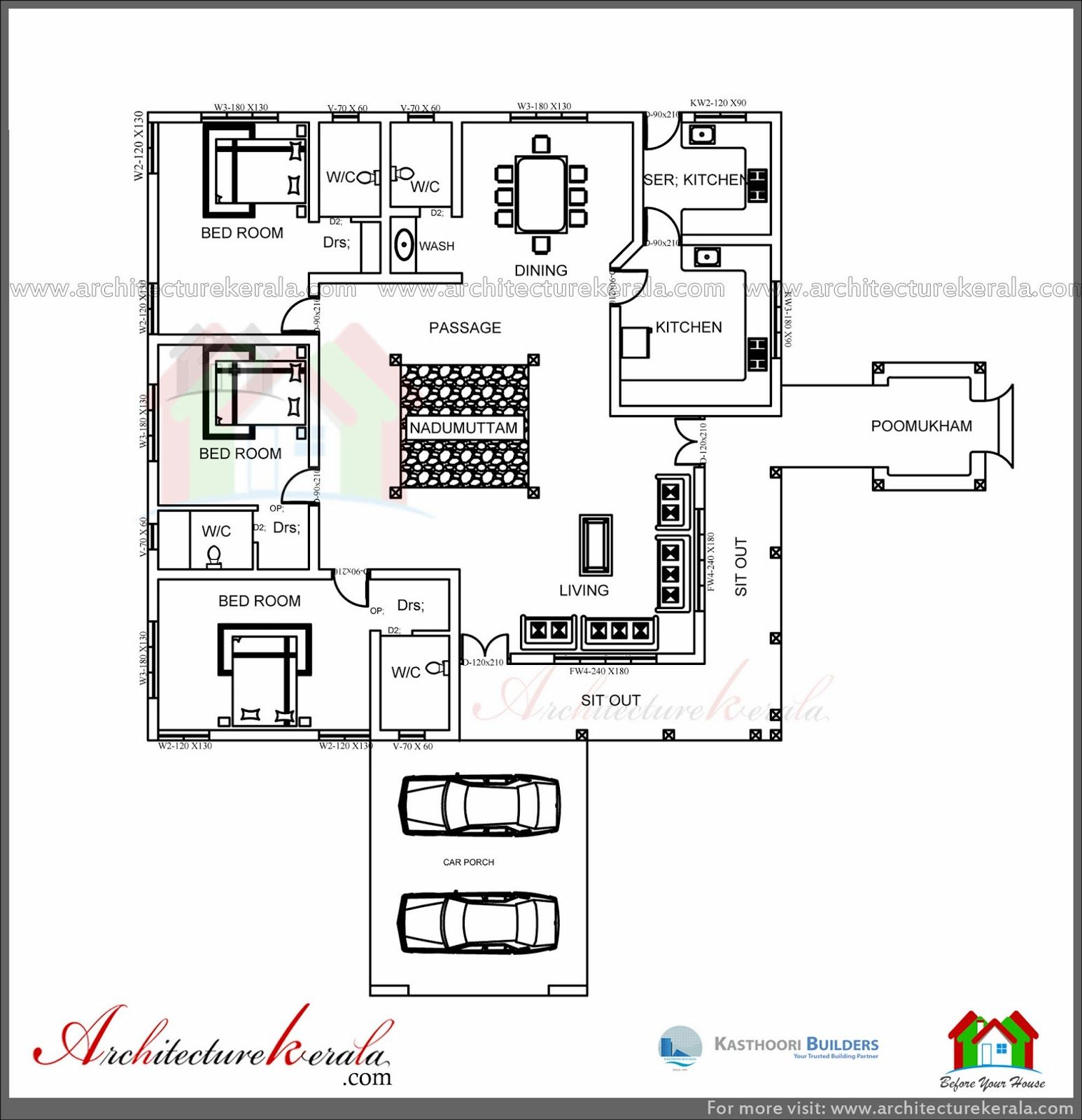 3 Bedroom Tradition Kerala Home With Nadumuttam Part - 28: ARCHITECTURE KERALA: TRADITIONAL HOUSE PLAN WITH NADUMUTTAM AND POOMUKHAM