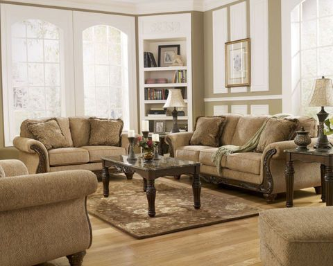 Julian Traditional Brown Fabric Wood Trim Sofa Couch Set Living