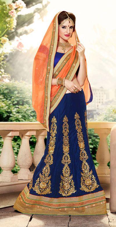 USD 100.98 Blue A Line Butta Work Wedding Lehenga Choli 40360