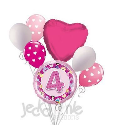 7 Pc 4th Happy Birthday Princess Castle Balloon Bouquet Party Decoration Pink