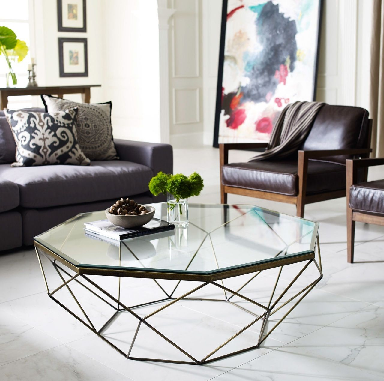 Geometric antique brass coffee table with glass top antique brass mid century and living rooms for Pictures of living rooms without coffee tables