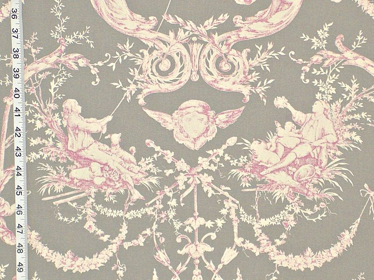 French toile fabric de Jouy grey violet Double wide from Brick House Fabric: Novelty Fabric
