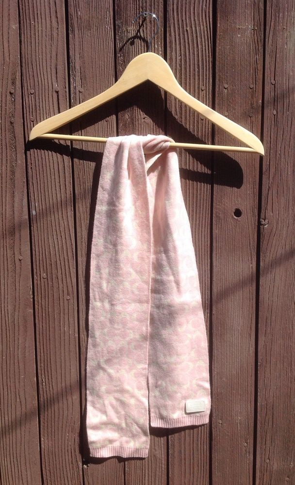 Pre Owned Coach Scarf Ler Very Feminine In Pink With Signature C Print Ebay