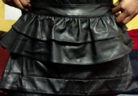 My LITTLE faux leather skirt.  A thrift shop deal!