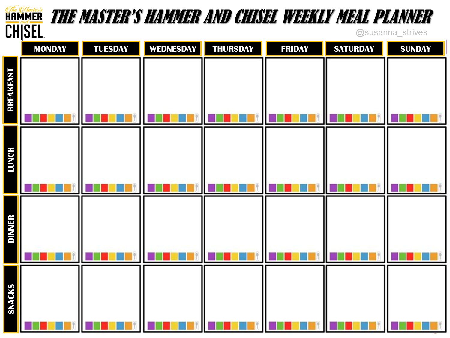 The Master S Hammer And Chisel Weekly Meal Planner Free