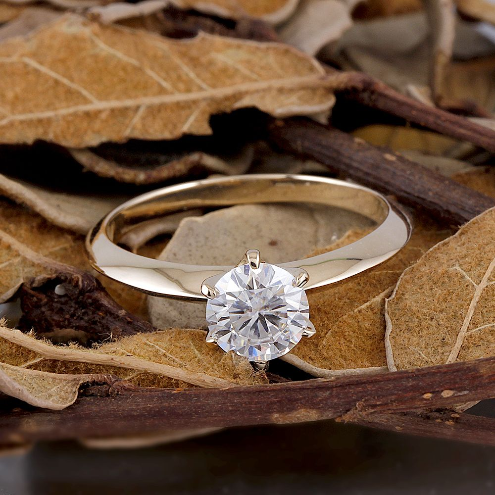 6f37941ccc8bc Transgems Classic Engagement Ring for Women Center 1ct 6.5MM F Color ...