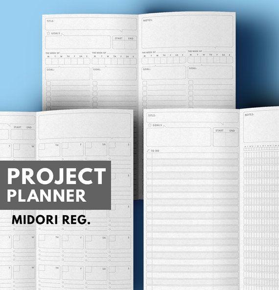 Project Planner Midori insert Printable, Goal Planner Midori Insert ...